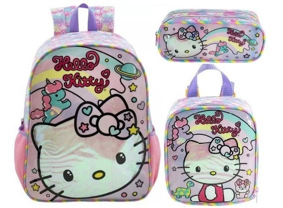 Kit Mochila Costas G Lanch Estojo Hello Kitty Rainbow Xeryus