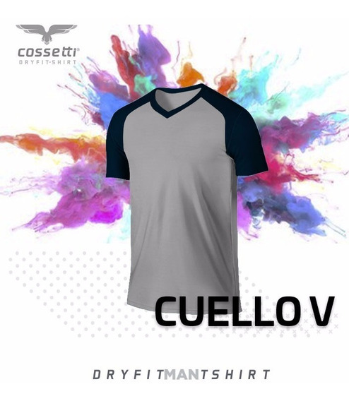 Playera Cuello V Cossetti Manga Corta Dry Fit Ranglan Xl 2xl