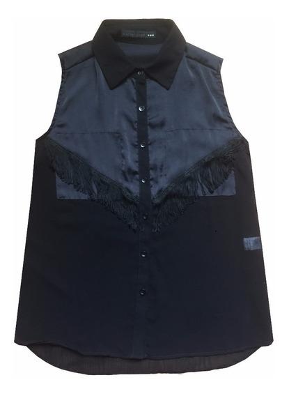 Camisa De Seda Gasa Y Flecos Negra. Nueva