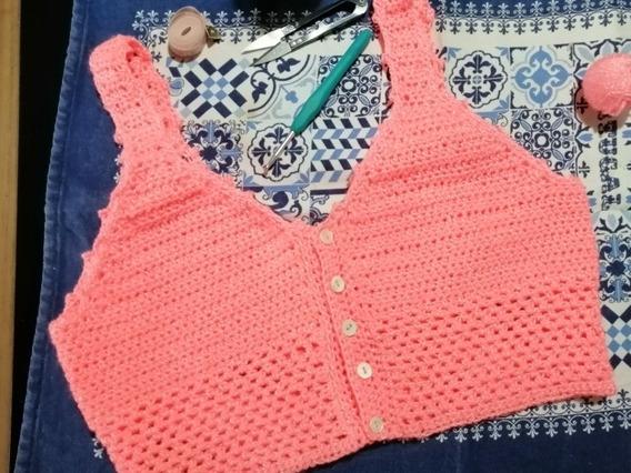 Top Crop Rosa Tejido A Crochet