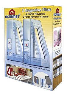 Set 2 Revisteros Acrilico Acrimet P/ Oficina , Humo, Cristal