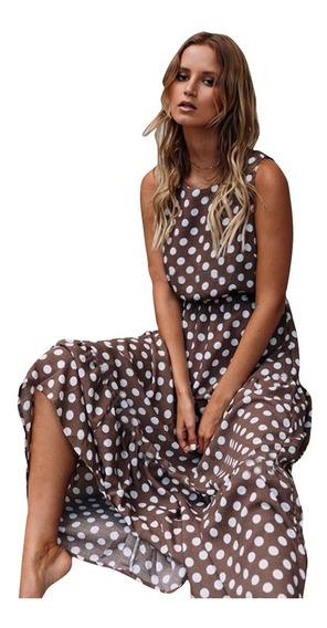 Vestido Às Bolinhas Casual Print Cool Confortável Lady Saia
