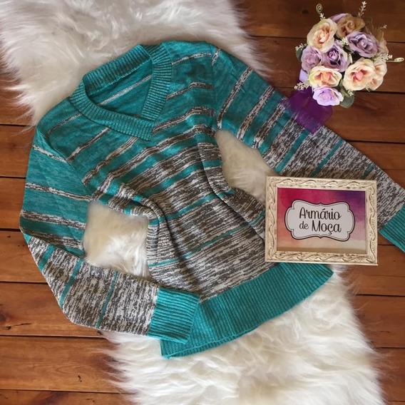 Trico Tricot Blusa Frio Listrada Segunda Pele Moda Feminina