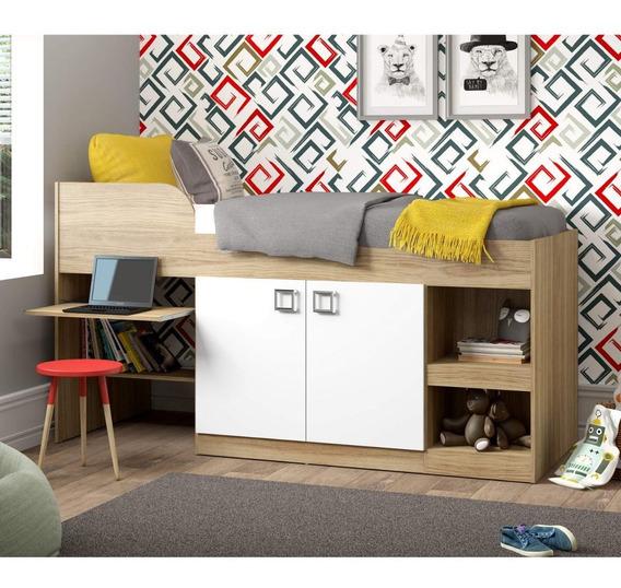 Cama Infantil Com Escrivaninha 2 Portas E Nichos Ie