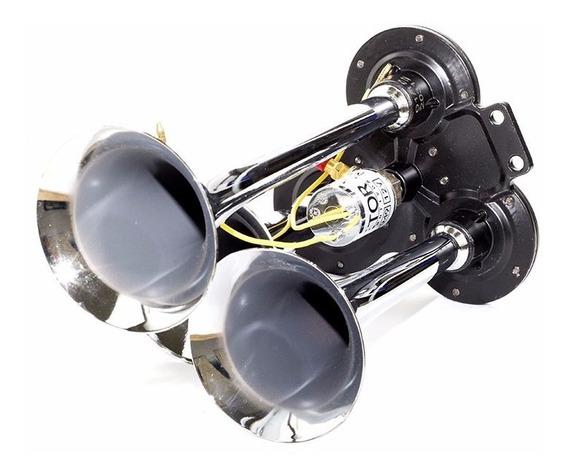 Buzina Eletropneumática 3 Cornetas Cromada 12v Universal