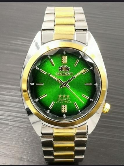 Relógio Orient Quartz Unissex Prata C/dourado Fundo Verde