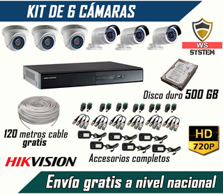 Kit De 6 Cámaras De Seguridad Hd + Disco Duro 500gb + Cable