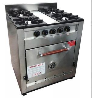 Cocina Industrial Pevi 4 Hornallas Acero 70 Cm Horno Pizzero