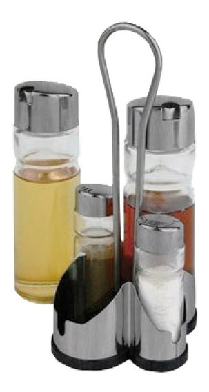 Set X4 Salero Pimentero Aceitero Vinagrero Con Base Pc