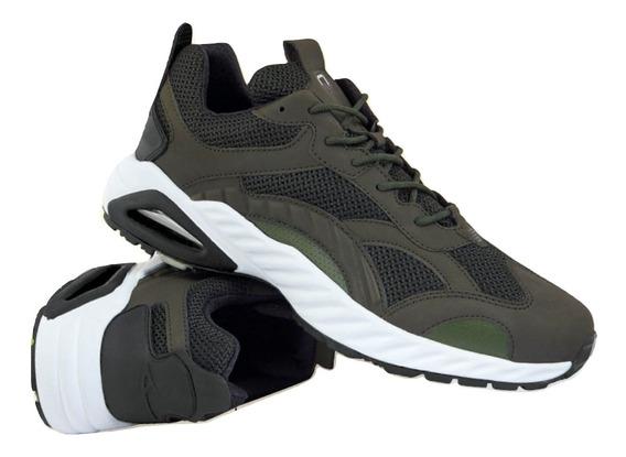 Cklass Zapato Tenis Caballero Verde Textil Flat Dtt20833