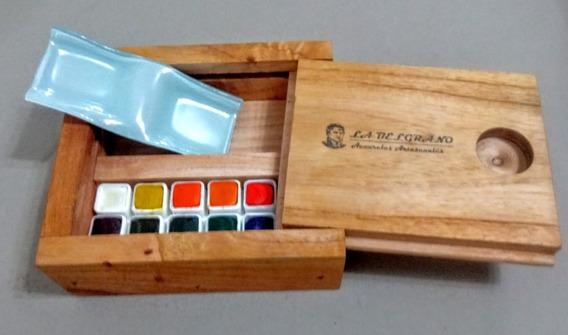 Acuarela Profesionale Set De 12= A 24 Colores Estuche Madera