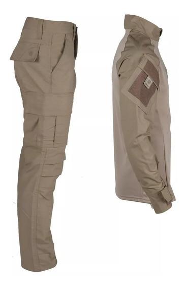 Farda Militar Combat Shirt + Calça Airsoft Paintball Coyote