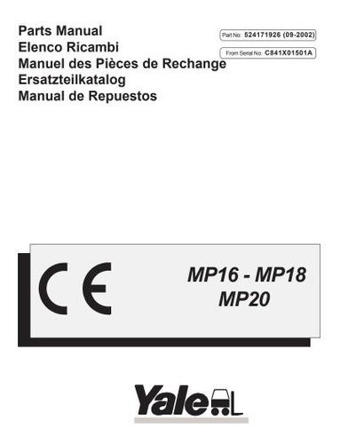 Manual Pecas Empilhadeira Yale Mp16 18 20 Serie C841  Pg38