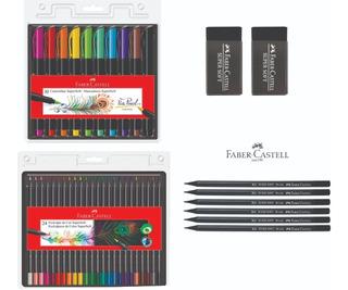 Caneta Brush Pen - Lápis 24 Cores - Lápis Grafite - Borracha