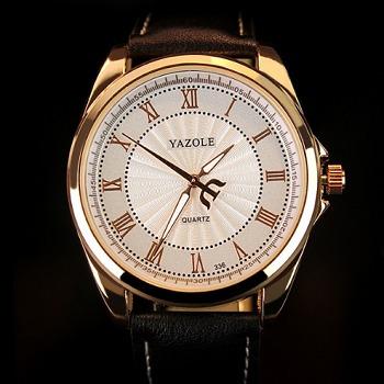 Relógio Masculino Luxo Yazole 336 Couro Pouseira Preto