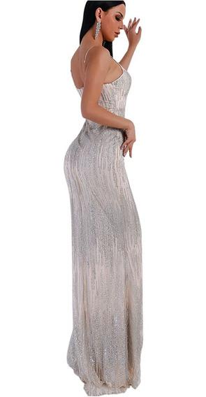Vestidos De Fiesta Elegante Sexy Piel Y Gris Cuotas