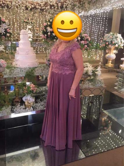 Vestido Longo Pra Festa Cor Marsala Feito Em Alta Costura.