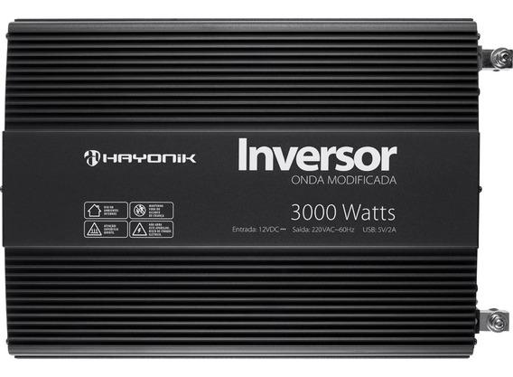 Inversor 3000w 12v Para 220v Onda Modificada Cinza Hayonik