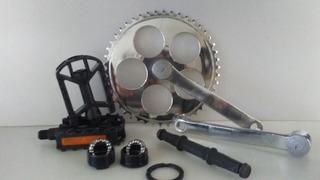 Pedivela Simples Bike 34,7mm Fixa Completo Caixa Pedal Eixo
