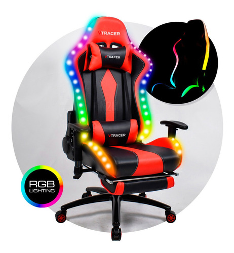 Sillon Pc Gamers Escritorio Oficina Racing Chair Led Rgb