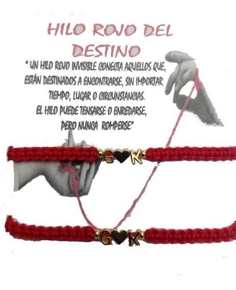 Pulsera 2 Iniciales Hilo Rojo Destino Corazón Pareja Tejida