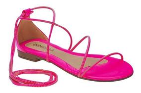 Sandália Feminina Rasteira Neon Tira Gladiadora Pink Amarelo