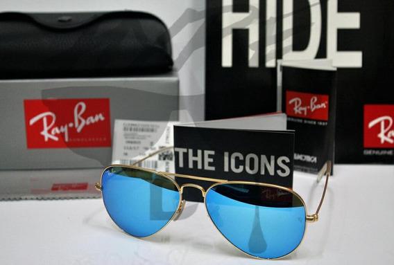 Óculos De Sol Rayban Rb3026 Azul Espelhado + Frete Grátis