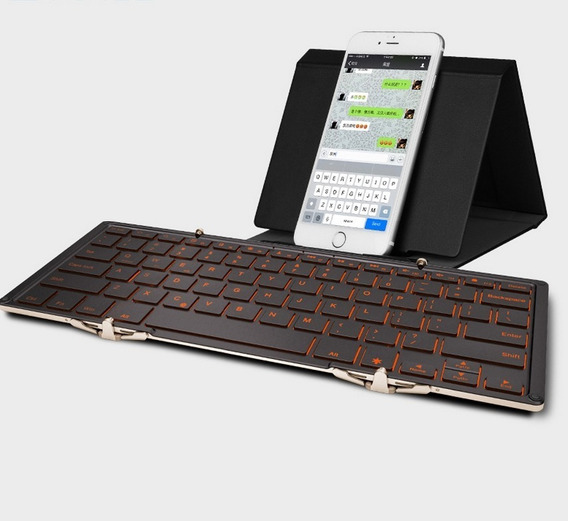 Teclado Iluminado Dobrável Bluetooth E Via Cabo P/ Macbook