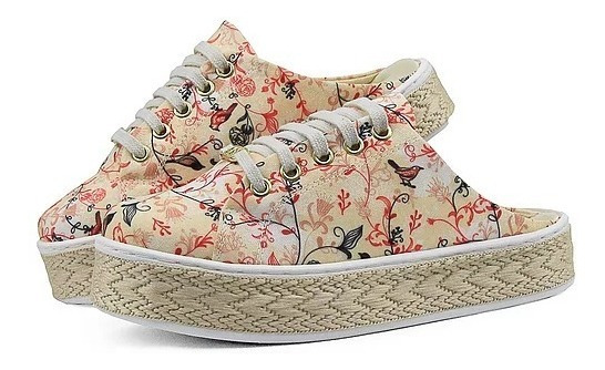 Mule Sapato Tênis Feminino Em Lona Estampas Floral Cores