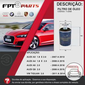 Filtro De Óleo Motor Audi A3 2007 A 2013   -  1.8 E 2.0