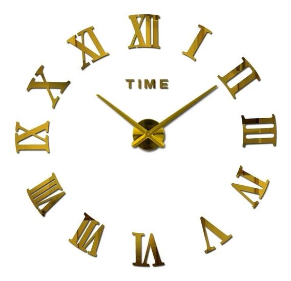 Relógio De Parede Grande 3d Sala Adesivo Decoração Dourado