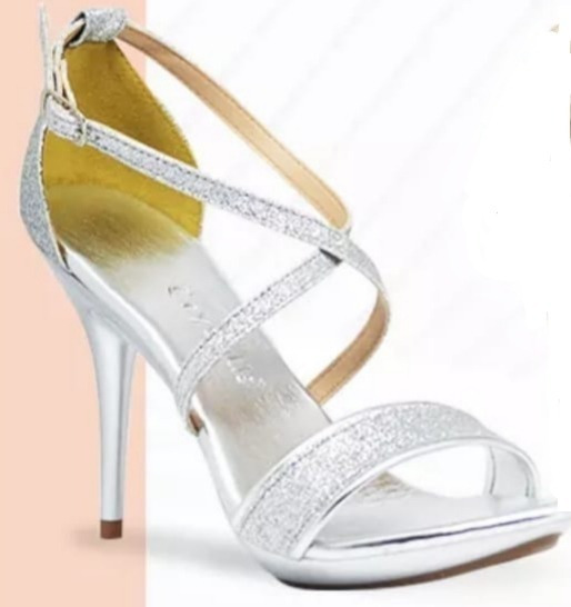 Sandália Salto Fino Gliter Prata /dourada Crysalis