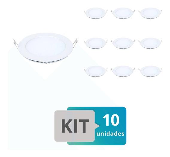 Kit 10 Painel Plafon Led Embutir Slim Redondo 18w Branco Qu