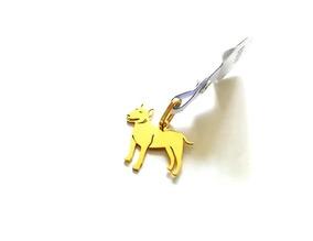 Pingente De Cachorro Bull Terrier + Cartie Em Ouro 18k