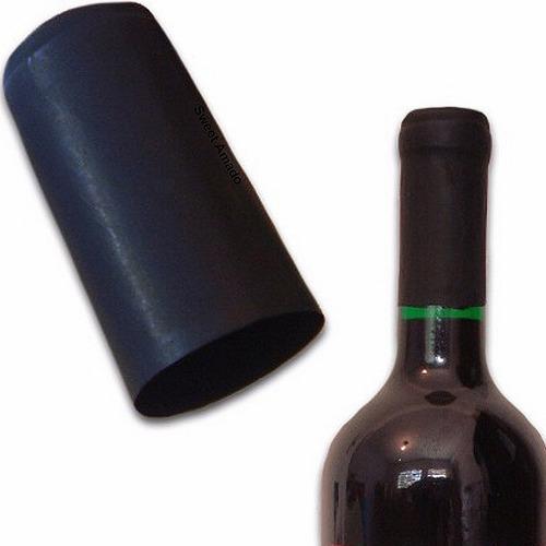 Imagem 1 de 4 de 100 Lacre Termoencolhível P/ Vinho Cor Preto 3,4cm X 6cm