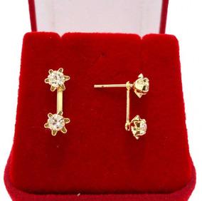 Brinco Feminino Coroa Dupla Cristal Goden Folheado Ouro 18k