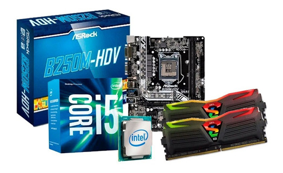 Kit I5 7400, Placa Asrock B250, 16gb (2x8) Ddr4 Led + Nfe