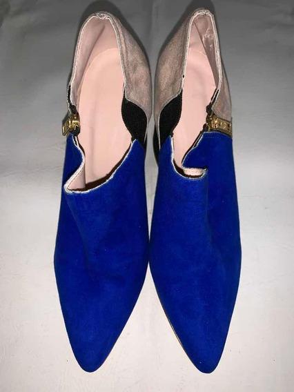 Zapatos Combinados De Taco. Última Moda! Sin Uso!