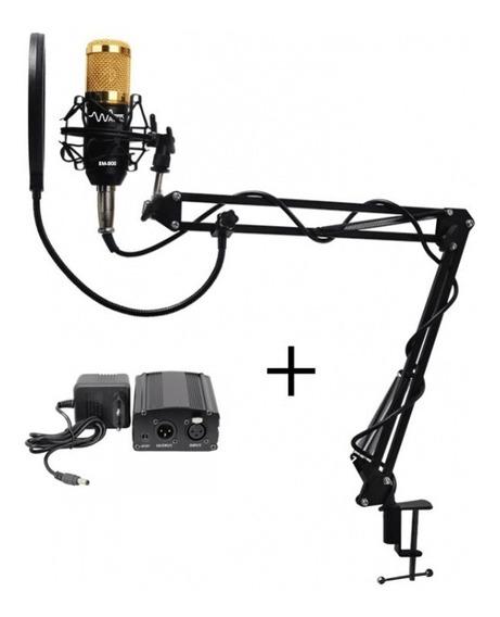 Microfone Estúdio Bm800 + Phanton Power 110v + Suporte Móvel