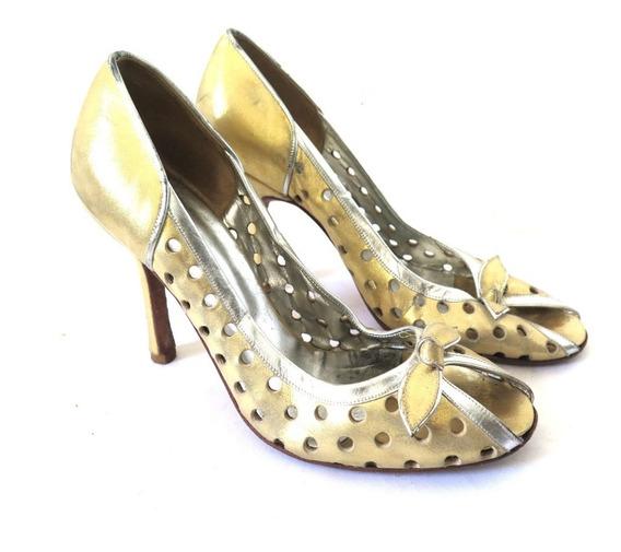 Zapatos Stilettos Sarkany Dorado Y Plata Calados 39 Cuero
