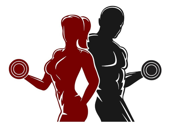 Adesivo Parede Academia Fitness Crossfit Homem Halter Mulher