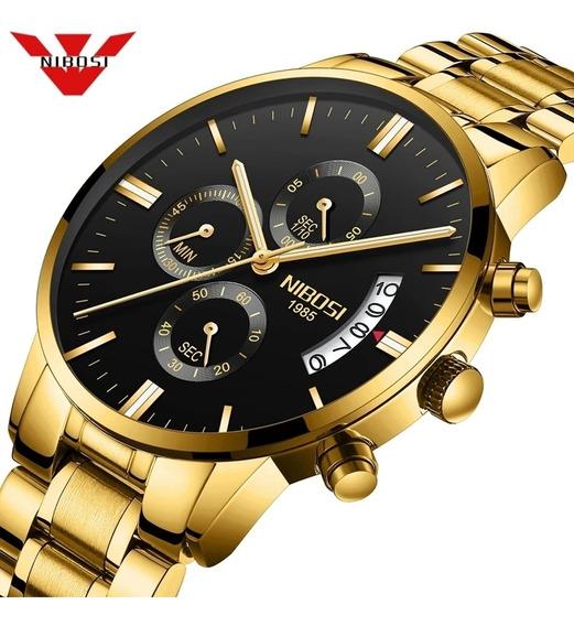 Relógio Nibosi 2309-1 Funcional Dourado Anti Risco Promoção