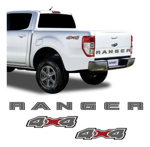 Imagem 1 de 8 de Kit Faixa Traseira Ford Ranger 2020 E Adesivo 4x4 Grafite