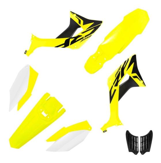 Kit Plástico Completo Biker Evo Honda Crf 250f + Adesivos Amarelo Neon / Branco