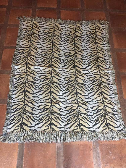 Tapete Manta Índia Artesanato Tigre 160x120 Franjas Perfeita