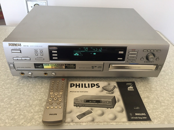 Gravador De Cd Philips 785 C/ Controle E Manual Impecável