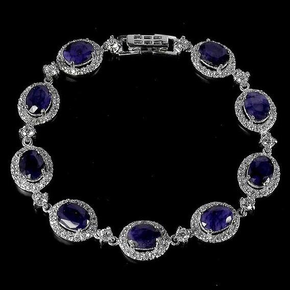Bracelete Safiras Naturais Em Prata 925