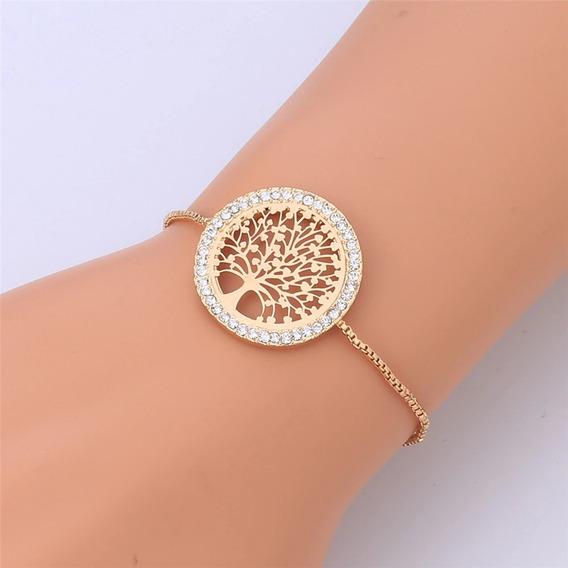 Pulseira Bracelete Dourada Prata Rosê Strass Árvore Da Vida