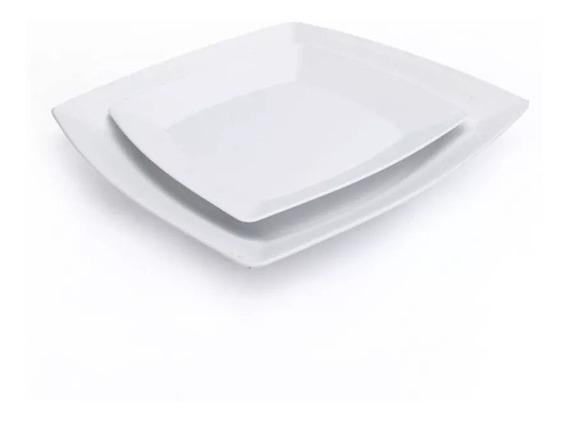 Kit 10 Pratos Quadrados De Refeição + 10 Pratos De Sobremesa