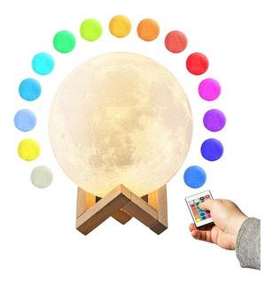 Lampara Velador Luna 16 Colores 10cm Control Remoto Bateria Recargable Usb Touch Ohmyshop
